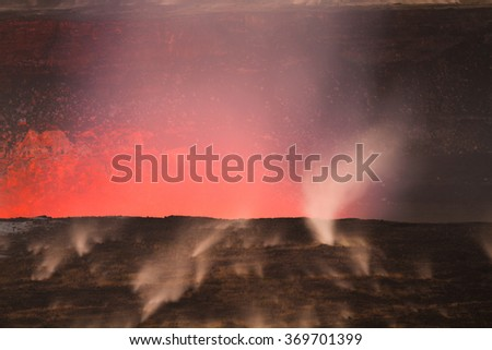 Beautiful volcanic eruption at dawn with small steaming vents on Big Island, Hawaii - stock photo