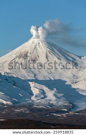 Beautiful volcanic landscape: Avachinsky Volcano - active volcano of Kamchatka Peninsula. Russia, Far East. - stock photo