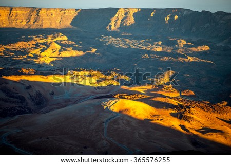 Beautiful Volcanic landscape in national park of Teide on Tenerife island. Top view on the sunset - stock photo