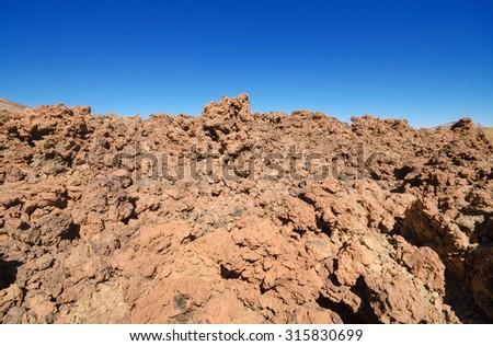Beautiful volcanic landscape in Teide national park, Tenerife canary islands, Spain. - stock photo