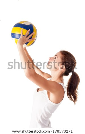 Beautiful volleyball player. Isolated over white background - stock photo