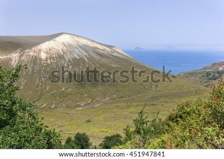 Beautiful Vulcano, Aeolian Islands, Sicily - a view at volcano - stock photo