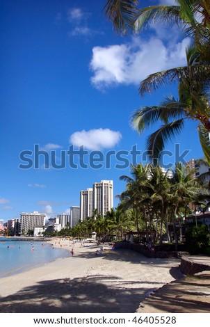 Beautiful Waikiki Beach - stock photo