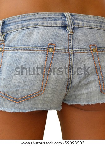 beautiful waist of a young girl in denim shorts - stock photo