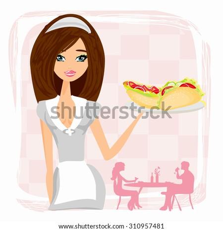 beautiful waitress with a tray.  - stock photo