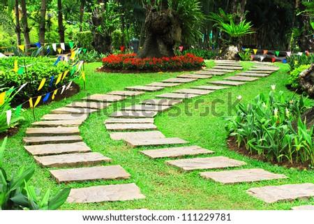 beautiful walkway in garden - stock photo