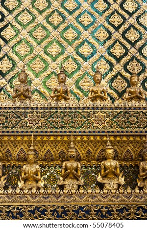 Beautiful wall in Thai Palace - stock photo
