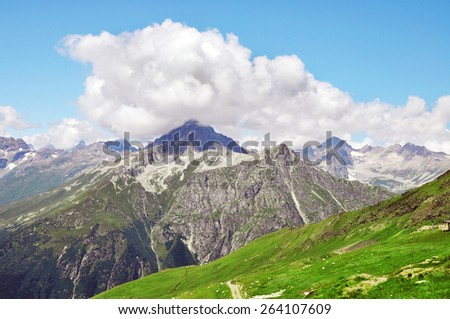 Beautiful walley in Caucasus mountains - stock photo