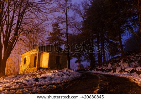 Beautiful warm light and shadows in sundown with trees, winter scene in Greece