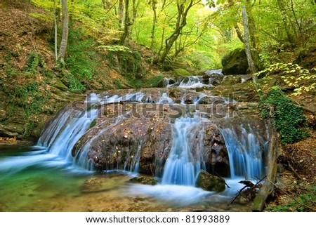 beautiful water cascades on a river
