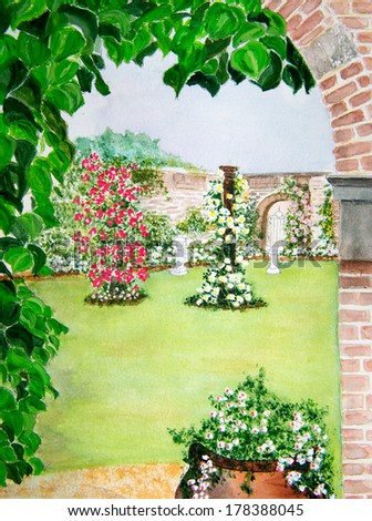 Beautiful water color painting of a walled flower garden - stock photo