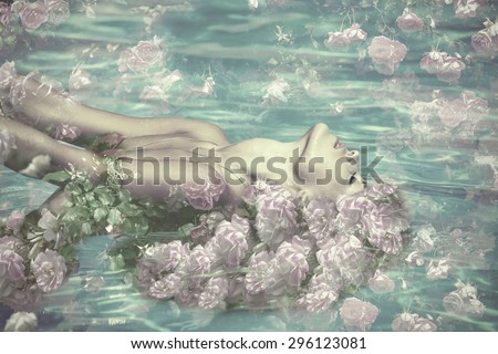 beautiful water fairy with flowers, composite photo - stock photo