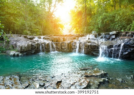 beautiful water fall in thailand - stock photo