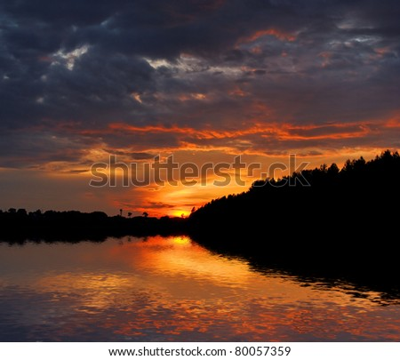 beautiful water landscape on sunset