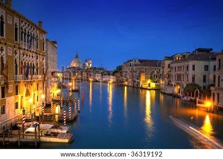 Beautiful water street at nighttime - Grand Canal in Venice, Italy - stock photo