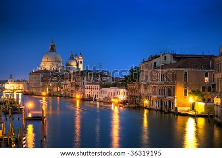 Beautiful water street at nighttime - Grand Canal in Venice, Italy