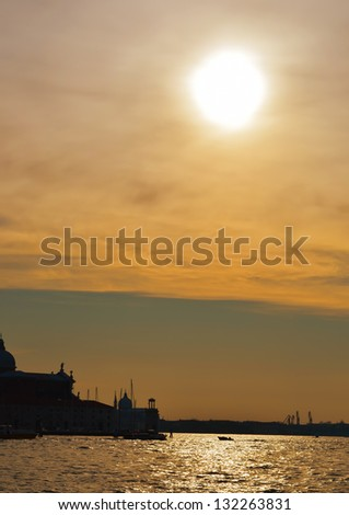 Beautiful water street - evening view Gulf of Venice, Italy - stock photo