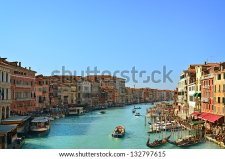 Beautiful water street - Grand Canal in Venice, Italy - stock photo