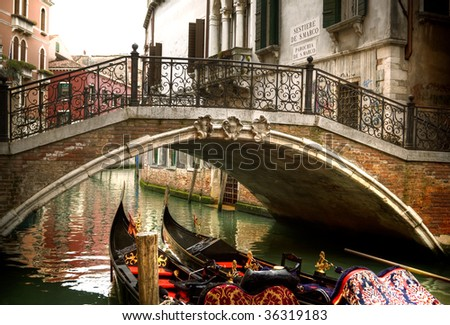 Beautiful water street in Venice, Italy - stock photo