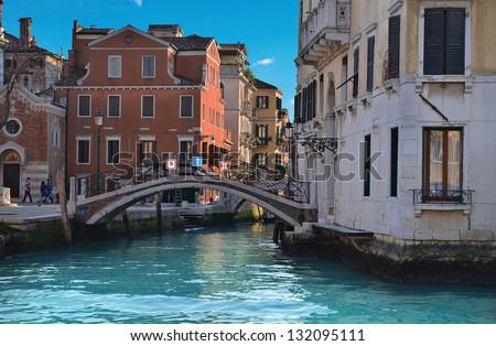 Beautiful water street - Venice, Italy - stock photo