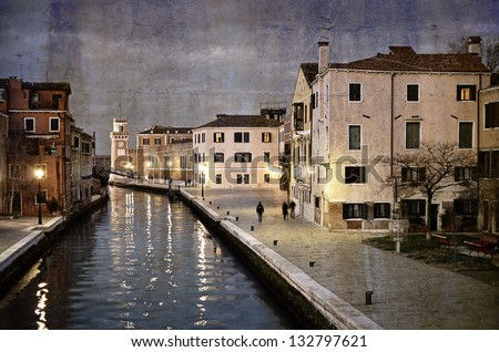 Beautiful water street -  Venice, Italy, evening view, artwork in painting style - stock photo