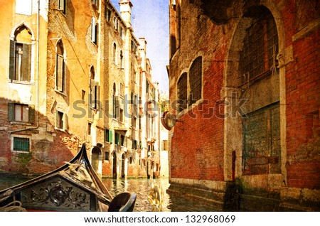 Beautiful water street - Venice, Italy. Photo in old color image style.