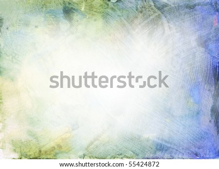 Beautiful watercolor background in soft blue, green and yellow- Great for textures and backgrounds for your projects! - stock photo