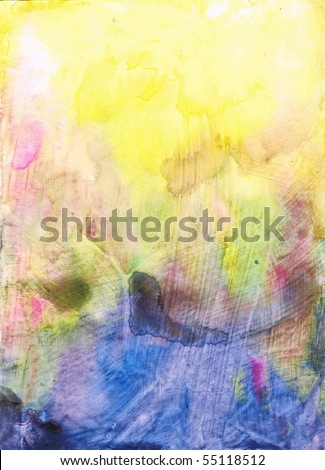 Beautiful watercolor background in soft blue, pink and yellow- Great for textures and backgrounds for your projects! - stock photo