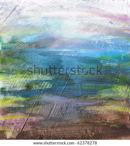 Beautiful watercolor background in soft brown, blue and green- Great for textures and backgrounds for your projects! - stock photo