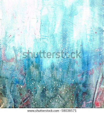 Beautiful watercolor background in soft green, blue and red- Great for textures and backgrounds for your projects! - stock photo