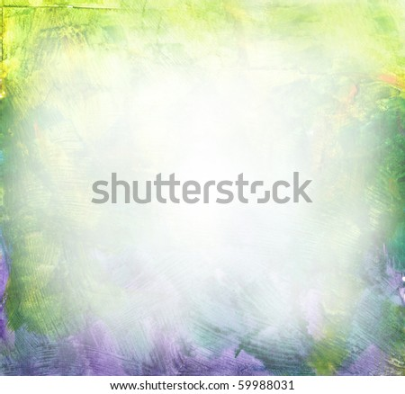 Beautiful watercolor background in soft green, yellow and purple- Great for textures and backgrounds for your projects! - stock photo