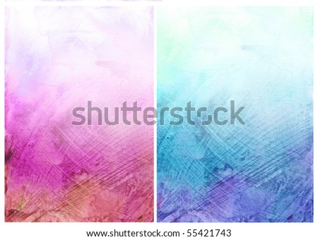 Beautiful watercolor background in soft magenta and blue- Great for textures and backgrounds for your projects! - stock photo