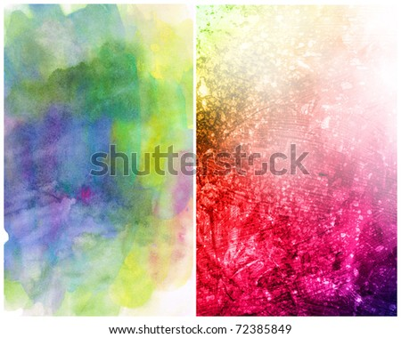 Beautiful watercolor background in soft magenta, yellow and green- Great for textures and backgrounds for your projects! - stock photo