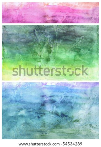 Beautiful watercolor background in soft pink, green and blue- Great for textures and backgrounds for your projects! - stock photo