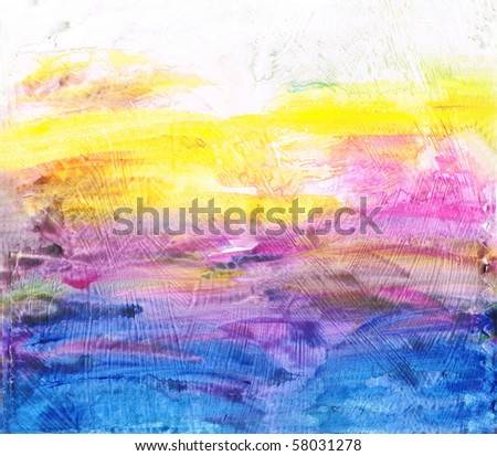 Beautiful watercolor background in soft purple, yellow and blue- Great for textures and backgrounds for your projects! - stock photo