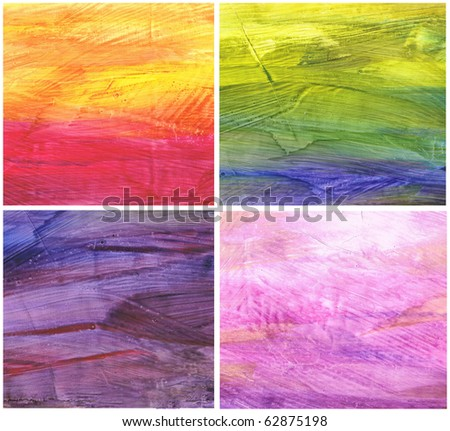 Beautiful watercolor background in soft red, purple and green- Great for textures and backgrounds for your projects! - stock photo