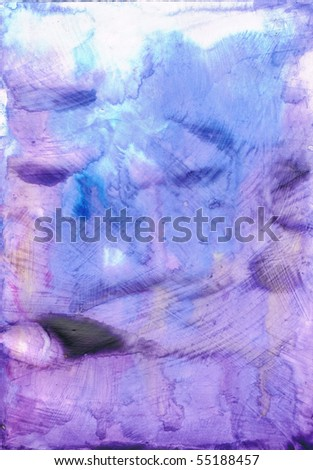 Beautiful watercolor background in soft white, blue and purple- Great for textures and backgrounds for your projects! - stock photo
