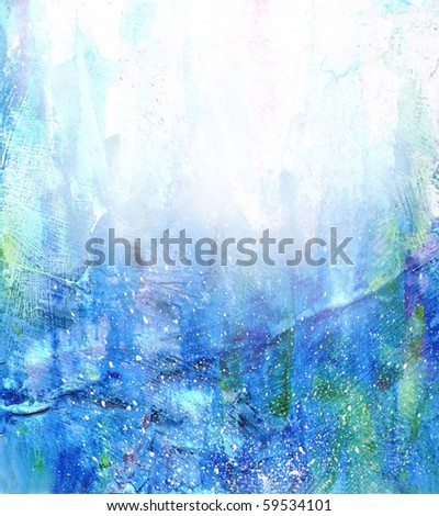Beautiful watercolor background in soft white, green and blue- Great for textures and backgrounds for your projects! - stock photo