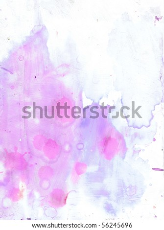 Beautiful watercolor background in soft white, pink and purple- Great for textures and backgrounds for your projects - stock photo