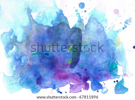 Beautiful watercolor background in soft white, purple and blue- Great for textures and backgrounds for your projects! - stock photo