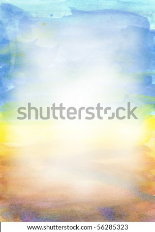 Beautiful watercolor background in soft white, yellow and blue- Great for textures and backgrounds for your projects! - stock photo