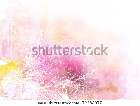 Beautiful watercolor background in soft white, yellow and pink- Great for textures and backgrounds for your projects! - stock photo