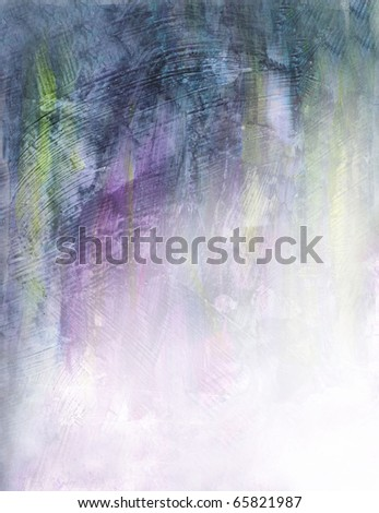 Beautiful watercolor background in soft yellow, purple and green- Great for textures and backgrounds for your projects! - stock photo