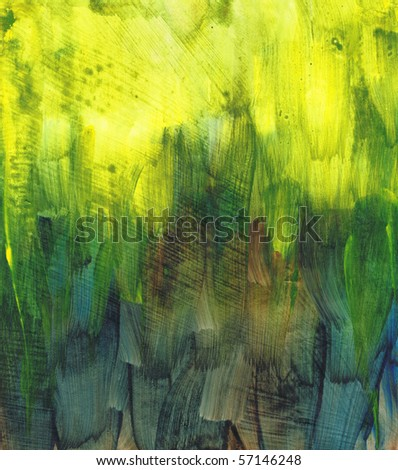 Beautiful watercolor background in vibrant green and yellow- Great for textures and backgrounds for your projects! - stock photo