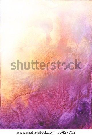 Beautiful watercolor background in vibrant orange and purple- Great for textures and backgrounds for your projects! - stock photo
