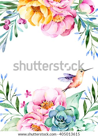 Beautiful watercolor card with place for text with roses,flowers,foliage,succulent plant,branches,hummingbird.Handpainted illustration.Can be used as a greeting card,wedding,invitation,lettering etc - stock photo