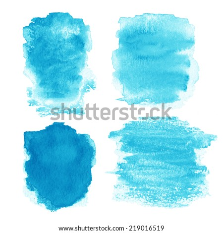 Beautiful watercolor design elements for design. Watercolor stains isolated on white.  - stock photo