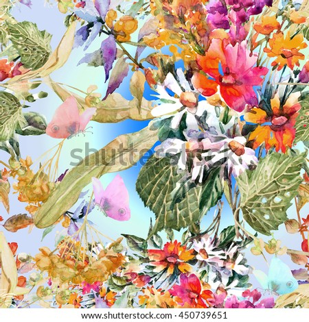 Beautiful watercolor floral seamless pattern. Colorful summer meadow flowers bouquet with blossoming linden branch and butterflies.