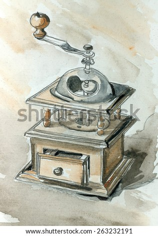 Beautiful watercolor illustration with coffee mill, manual coffee grinder. May be used as a greeting card, background, print. - stock photo