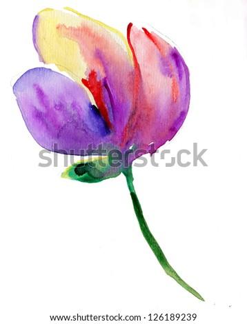 Beautiful watercolor magnolia  flower - stock photo